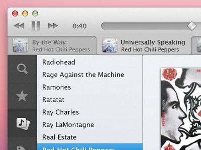 New queue design + sliders music app os x playback controls progress bar slider ui