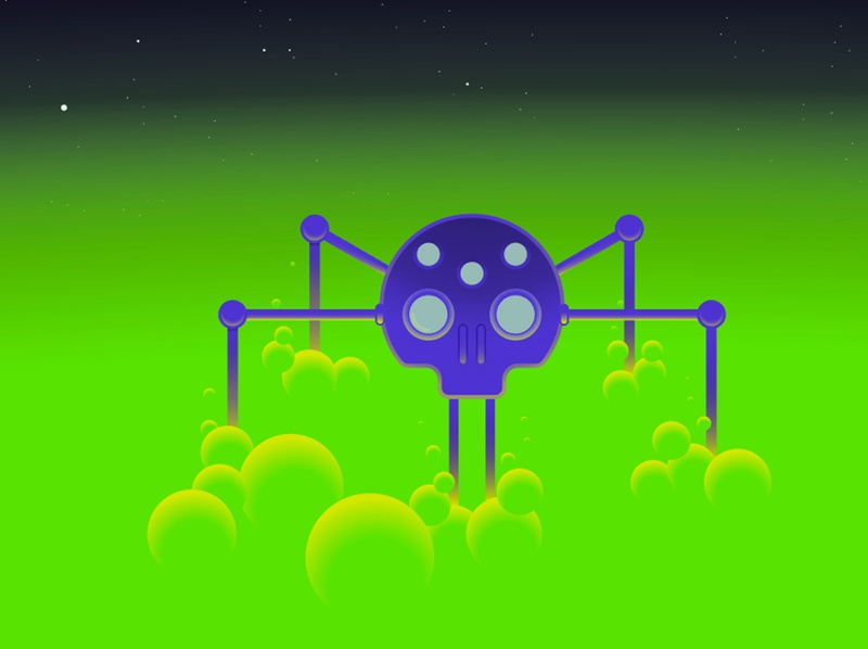 Skull spider robot spider planet space sci-fi illustration vector