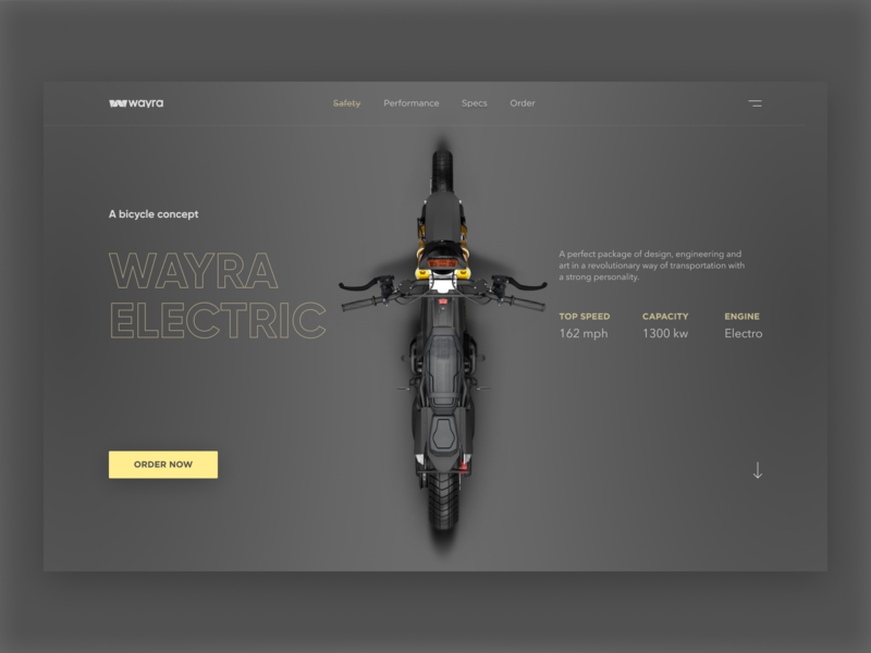 Wayra Electric bicycles typography design ux ui website web design greyscale concept