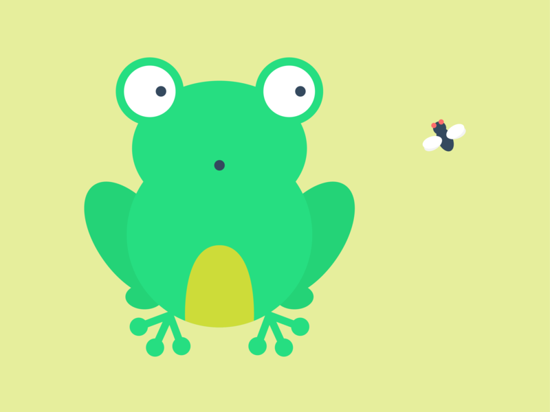 An Unexpected Snack Appears! flat art snack fly vector illustration graphic toad frog