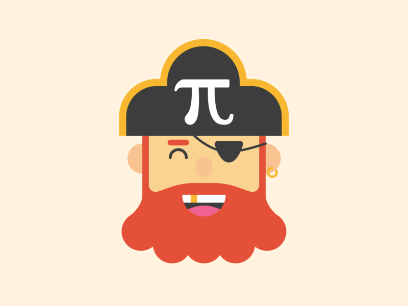 """Watch Out for """"Pi""""rates on Pi Day! pirate design vector flat art illustration pi day pi"""