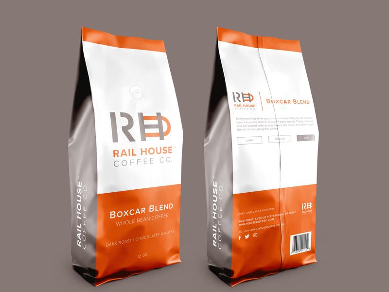 Rail House Coffee Co. Package Design train railroad package design package mark logo identity coffee branding brand
