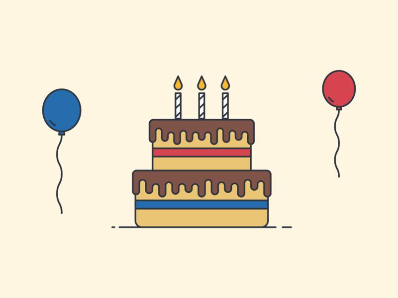 Happy Birthday! celebration vector illustration balloons candles cake birthday cake birthday