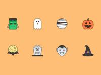 Halloween Icons icon set icons witch vampire tombstone bat jack o lantern pumpkin mummy ghost frankenstein halloween