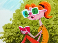 Girl with Funglasses, reading