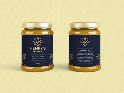 Henry's Honey Packaging pattern logo packaging design branding