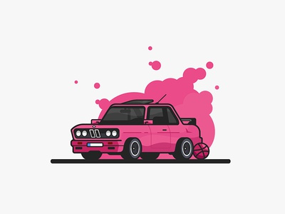Hello Dribbble! old school first shot pink car illustration debut dribble