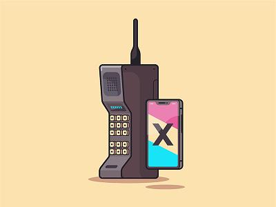 Old vs New iphone x old school icon phone mobile stroke yellow retro illustration vector tech adobe