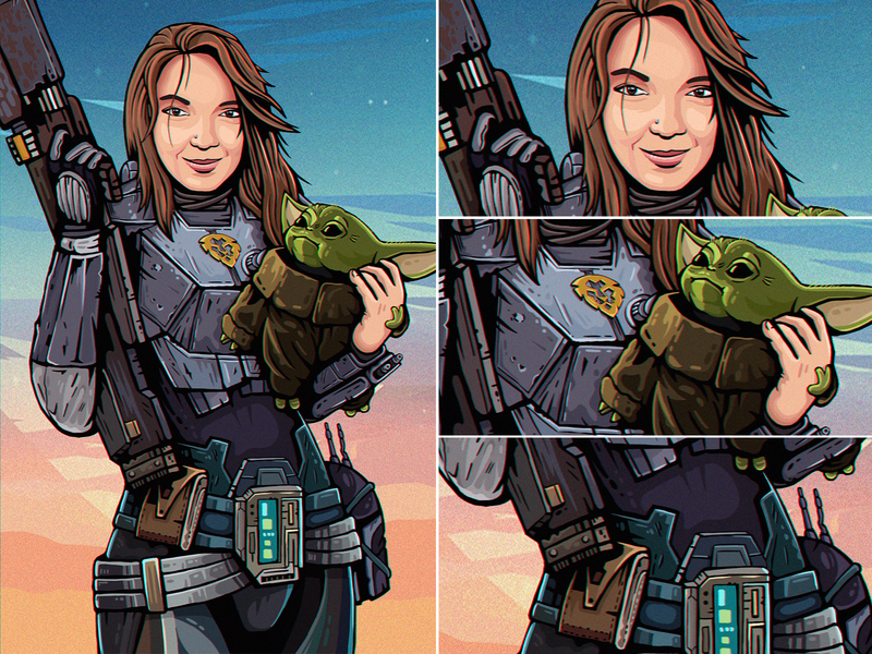 MandaloriAna alien girl colorful comic book scifi art digital mandalorian babyyoda starwars fanart fun character illustration