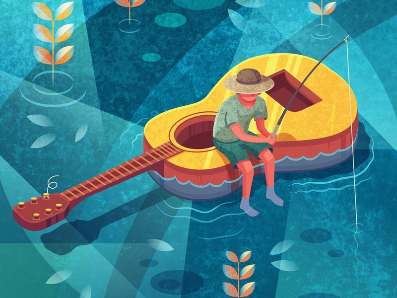 Fishing for Inspiration water boat vector fishing illustration inspiration music guitar