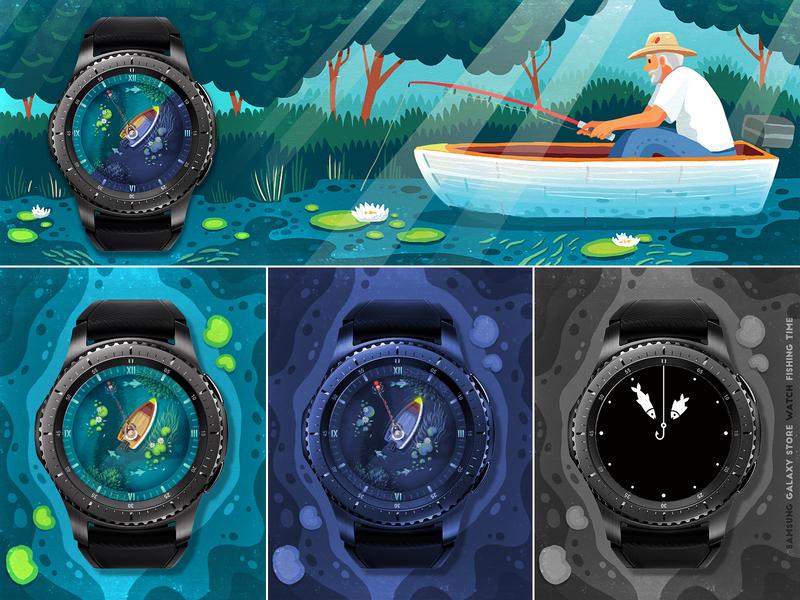 Fishing Time time samsung illustration nature fishing smartwatch watchface