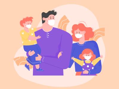 COVID-19 Family family illustration digital illustraion illustration design illustration art illustration vector coronavirus covid-19 design
