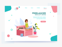 Freelance Blog Illustrated Concept branding vector webpage landing page freelance blog illustration art illustration web design website webdesign design