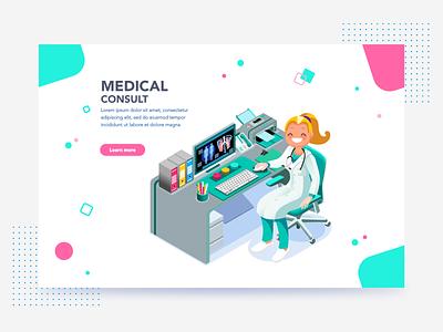 Medical Consult Landing Concept landing page illustration art webpage vector illustration web design webdesign medicine medical web landing design