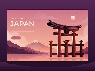 Welcome to Japan landing illustration art design art japan webpage illustration landing page web website webdesign