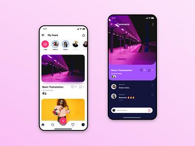 UI/UX Concept for Social Media glassmorphism neumorphic instagram social media ios app design ui design ui  ux mobile ui mobile app design mobile