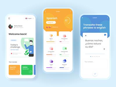 LanguageNewHQ app ui clean modern learning app language app design ux ui mobile app design mobile ui mobile app mobile