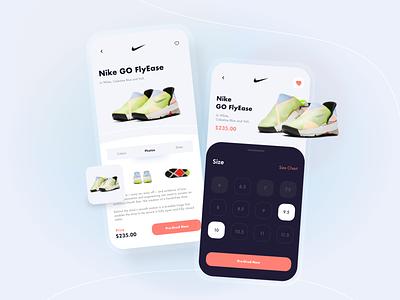 Nike GO FlyEase UI/UX trendy minimal modern nike shoes nike sneakers store app shopping app ecommerce app e-commerce shop e-commerce app design ux ui mobile app design mobile ui mobile