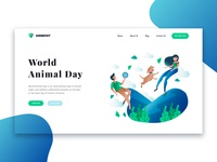 Word Animal Day landing page header in Adobe XD