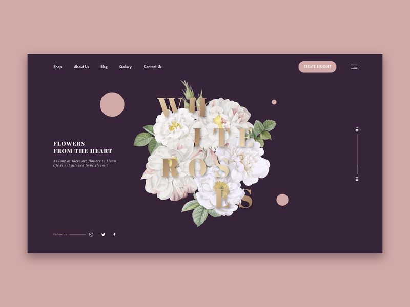 Flower Shop Homepage Concept clean  creative shop flower clean vector illustration typography landing page webpage webdesign website landing web ux ui design