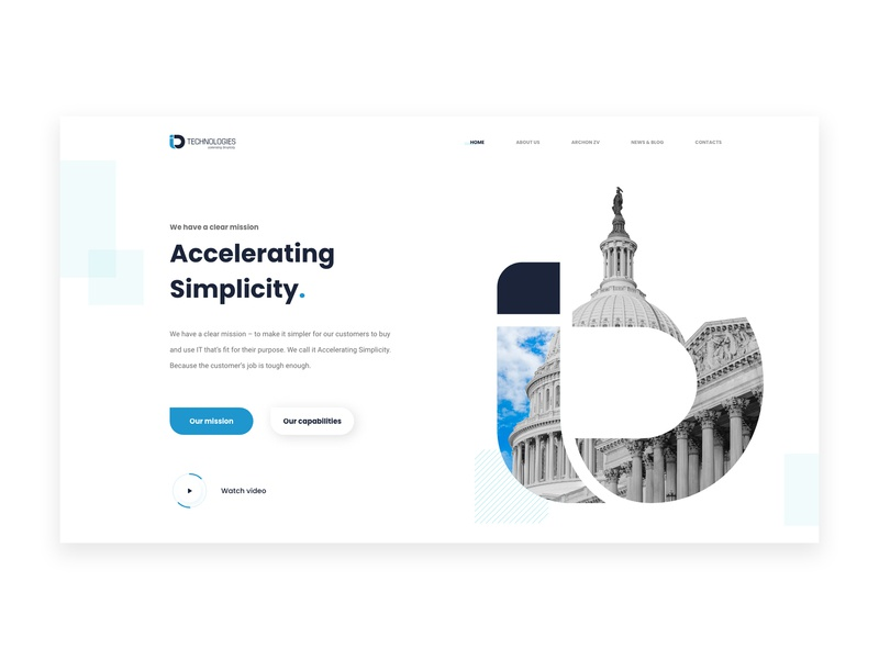 Information Technology Website Concept goverment dell it company technology typography illustration landing page xd webpage webdesign website landing web ux ui design