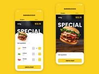 Burger bar menu app UI iPhone X