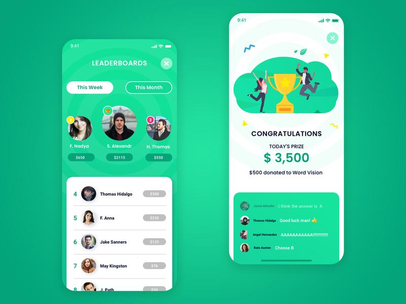 Sport Trivia Game UI/UX Concept Adobe XD hq adobe xd game app game designer trivia iphone app design ux ui