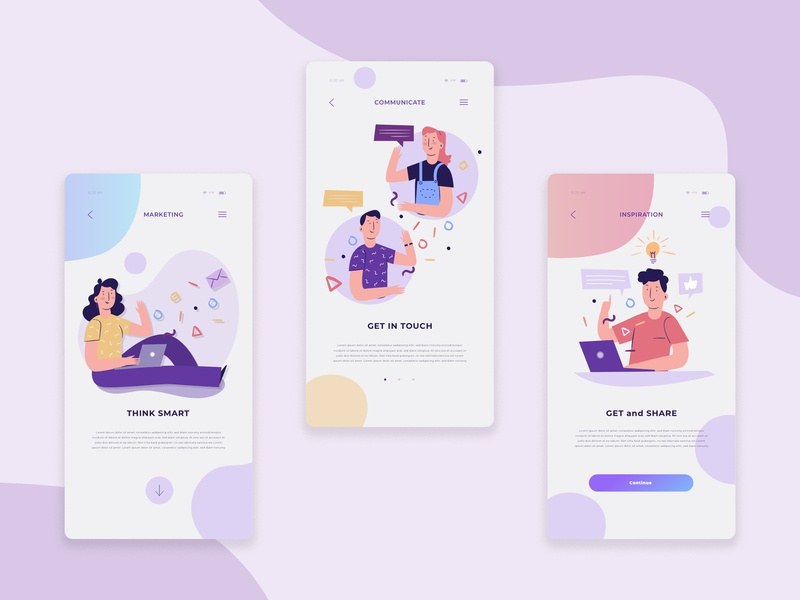 Inspiration and Social app For designers and Developers Concept agency creative agency clean  creative messanger branding xd ios design typography illustration designers social media vector social app app ux ui
