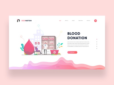 Blood Donation Illustrated Landing Page Concept