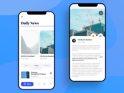 News App Feed and Post Concept
