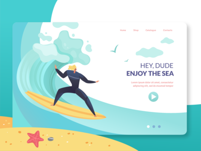 Miss The Summer and Surfing vector illustration vector art web design procreate summer camp sea surfing illustration art landing page design flat animation vector illustration webdesign landing web ux ui design