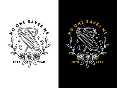 No One Saves Me Logo minimal clean cross typogaphy illustration icon flat death coffin branding badge logo vector 2d