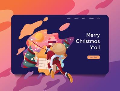 Merry Christmas Y'all illustration art gradient typography webpage vector illustration landing page website landing page design landing uiux ui santa christmas branding app animation