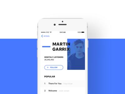 Music App Artist Page apple music iphone ui ux ios