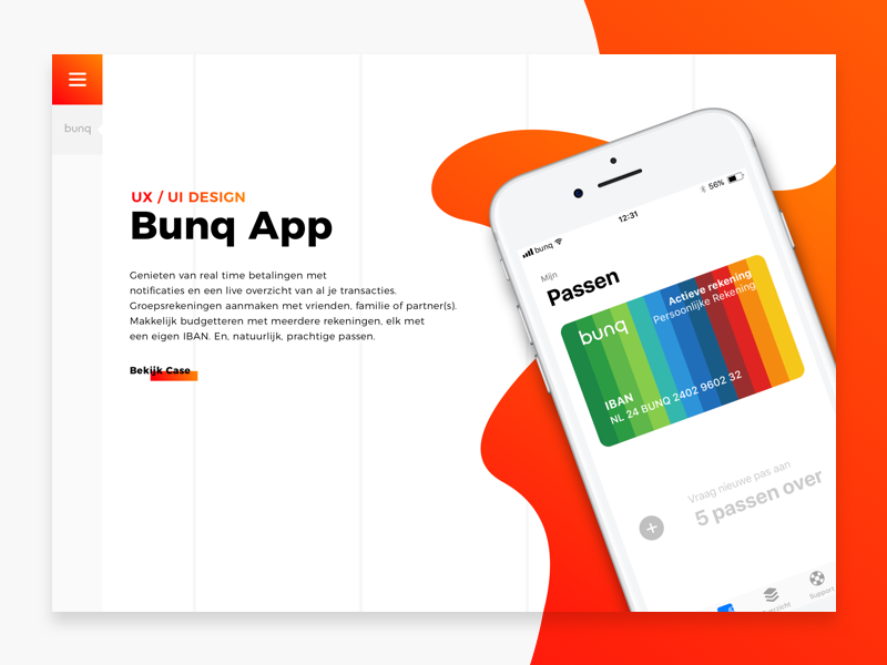 Portfolio Website Idea bunq gradient desktop ui ux design iphone website
