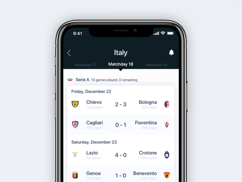 ⚽️ Football Matchday Overview football apple app ios design iphone sketch ux ui