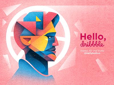 Hello, Dribbble! texture planes graphic design illustration geometric pink hello dribbble portrait debut
