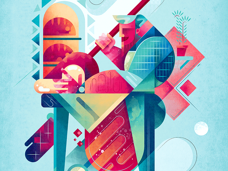 The Baker color male food kitchen lifestyle texture watercolor geometric illustration baker