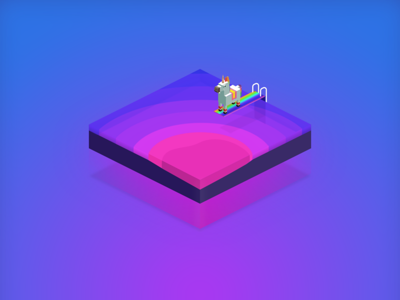 Summer Dip rainbows pool summer unicorn isometric art sketchapp characterdesign