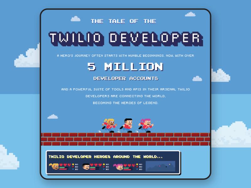 Infographic 2x infographic 8bit build logo illustration design branding twilio
