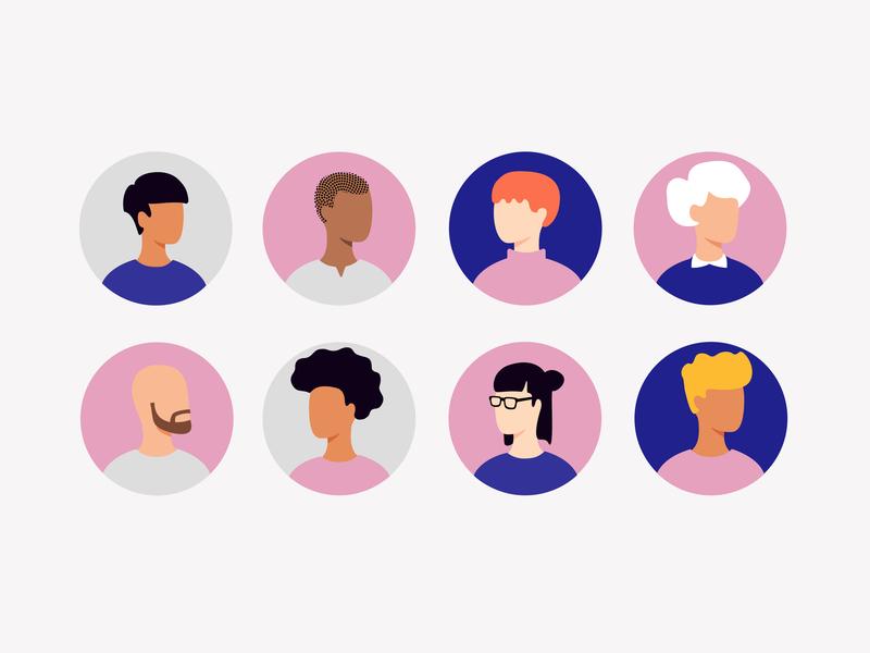 Avatar design icons women men vector diversity group character faces purple pink ui avatar
