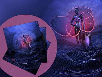 Visitor - 12. / 100 Day Music Album Cover Art Challenge conceptart vividart musiccover albumcover illustration digitalcollage digitalart techno graphic design
