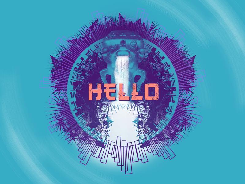 Hello Dribbble! :) psy shaman illustration psychedelic hello debut