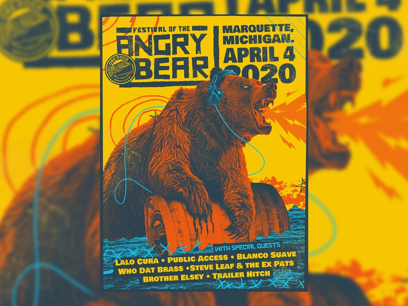 Angry Bear Poster 2020 photoshop screen print punk concert music gig poster illustration poster design