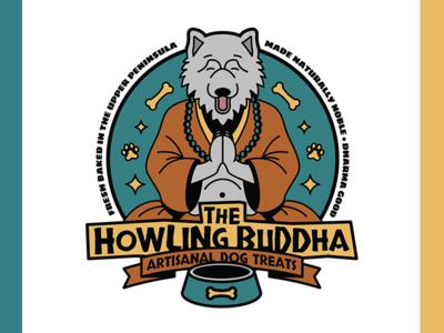 The Howling Buddha Logo doggo dog illustrator linework vector treats dogs