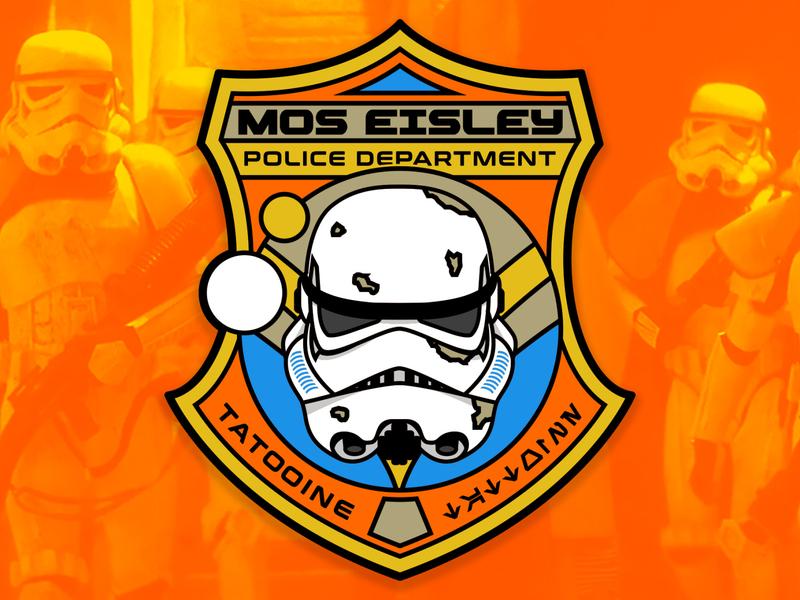 M.E.P.D. Badge illustration vector police sandtrooper stormtrooper starwarsday disneyland disney jedi empire badge logo branding star wars starwars