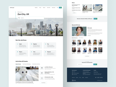 City Government Homepage Template news events search uk gradient modern hero citizen government ui  ux web template home page city guide