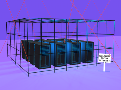 Internet Lockdown access networking internet servers 3d illustration