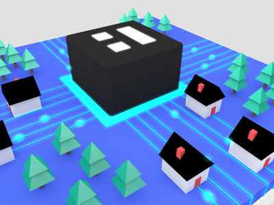 Clay Neighborhood Fiber Grid internet 3d illustration