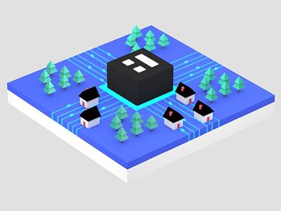 Isomorphic View - Clay Neighborhood Fiber Grid community internet 3d illustration